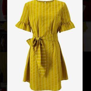 Yellow Striped Dress Ruffle Sleeves